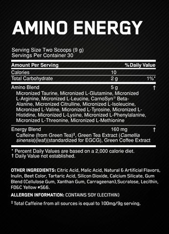 Optimum Amino Energy Supplement Facts