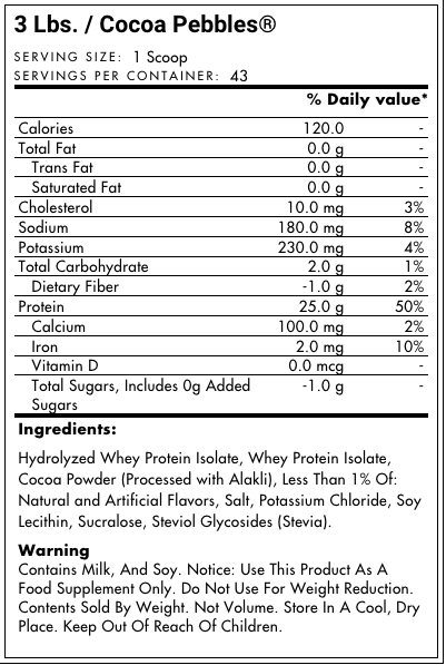 Dymatize Iso 100 Cocoa Pebbles Supplement Facts