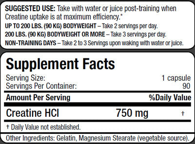 Allmax Creatine HCL Supplement Facts