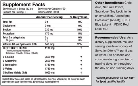 Scivation Xtend BCAA 90 servings Supplement Facts