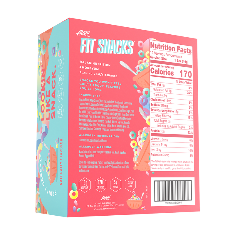 Alani Nutrition Fit Snacks Protein Bar Supplement Facts
