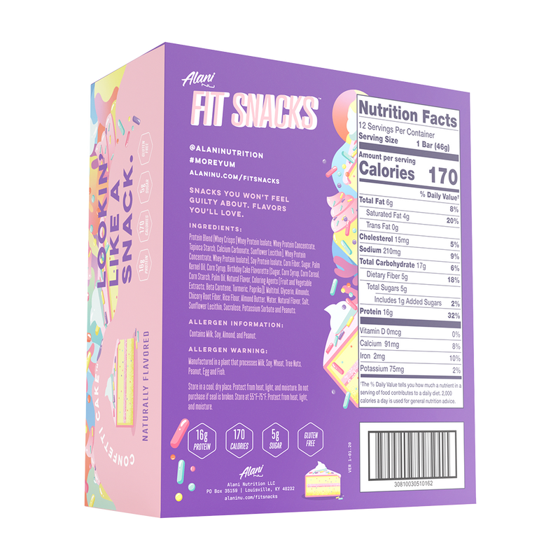 Alani Nutrition Fit Snacks Confetti Cake Facts