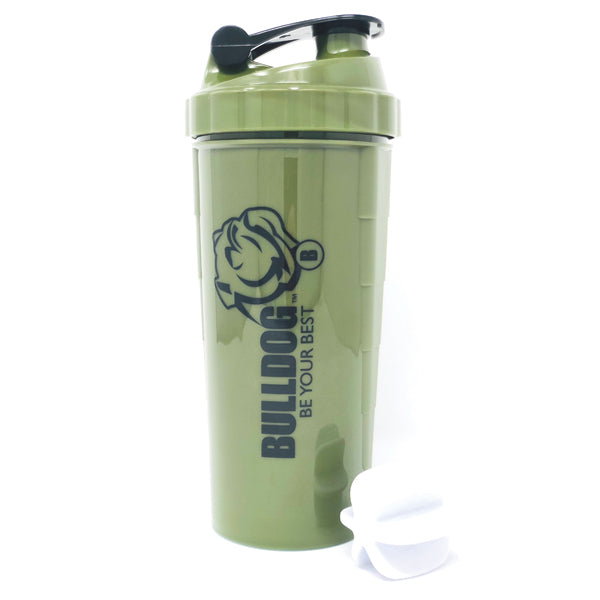 Premium 1L Bulldog Shaker Blender Bottle Military Green with Black Logo