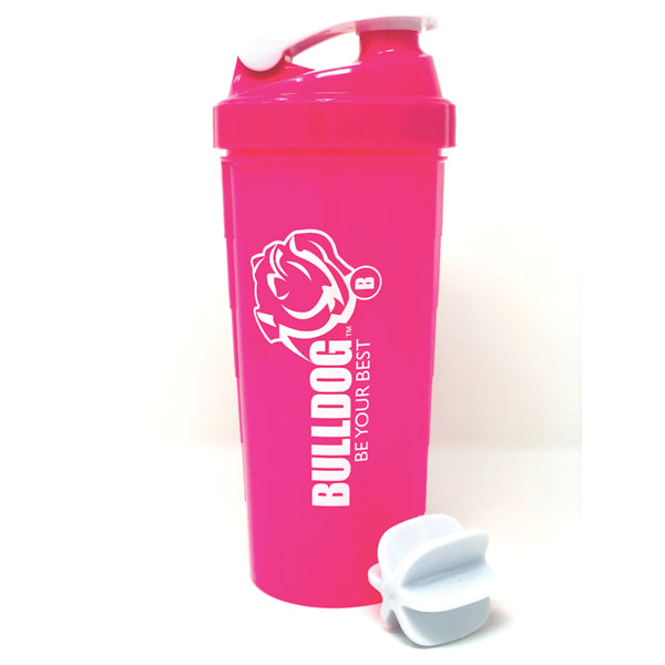 Premium 1L Bulldog Shaker Blender Bottle Pink with White Logo