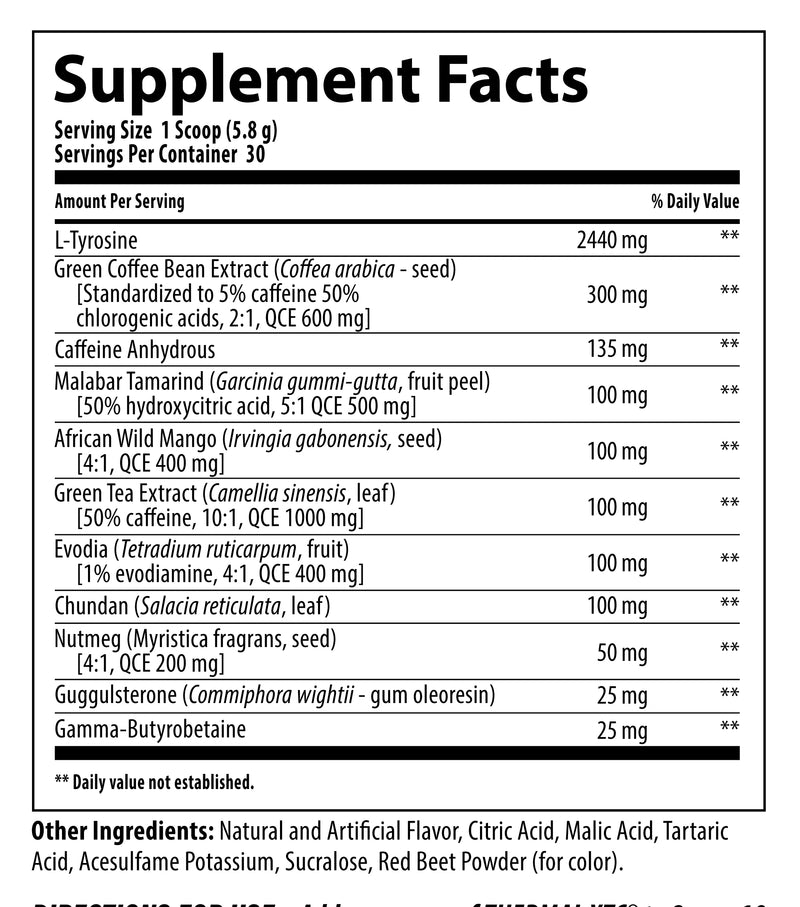 Nutrabolics Thermal XTC Iced Raspberry Supplement Facts