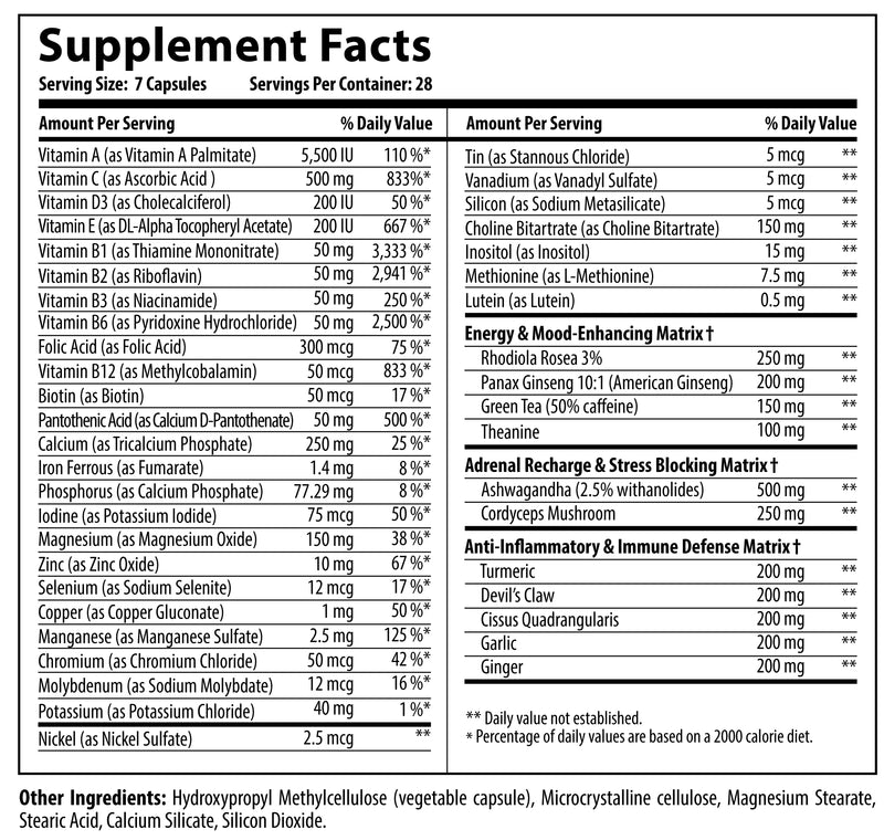 Nutrabolics Vitabolic Multi Vitamin Supplement Facts