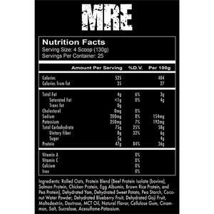 Redcon1 MRE Whole Food Supplement Facts