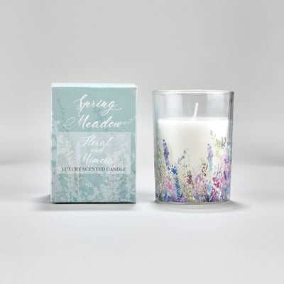 Spring Meadow Scented Candle with Duck Egg Blue Gift Box