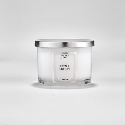 Simple Large Double Wick Fresh Cotton Scented Candle