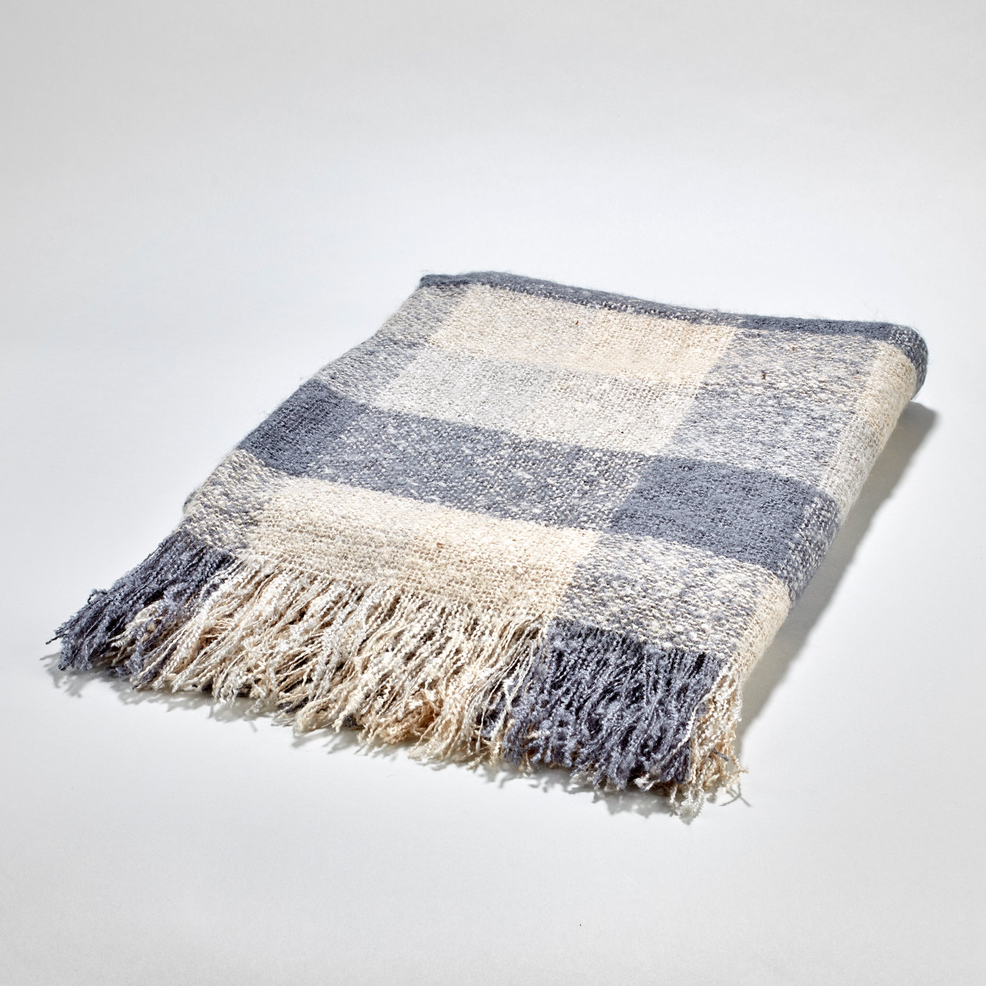James Throw - Ivory & Light Charcoal Grey