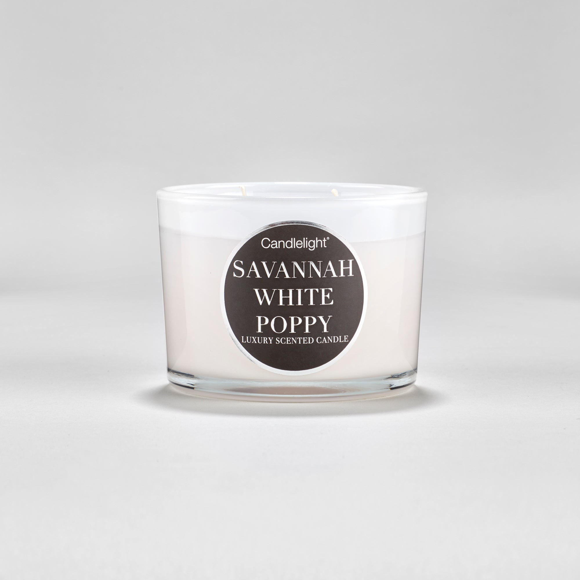 Large 2 wick wax candle with glass and white gloss holder