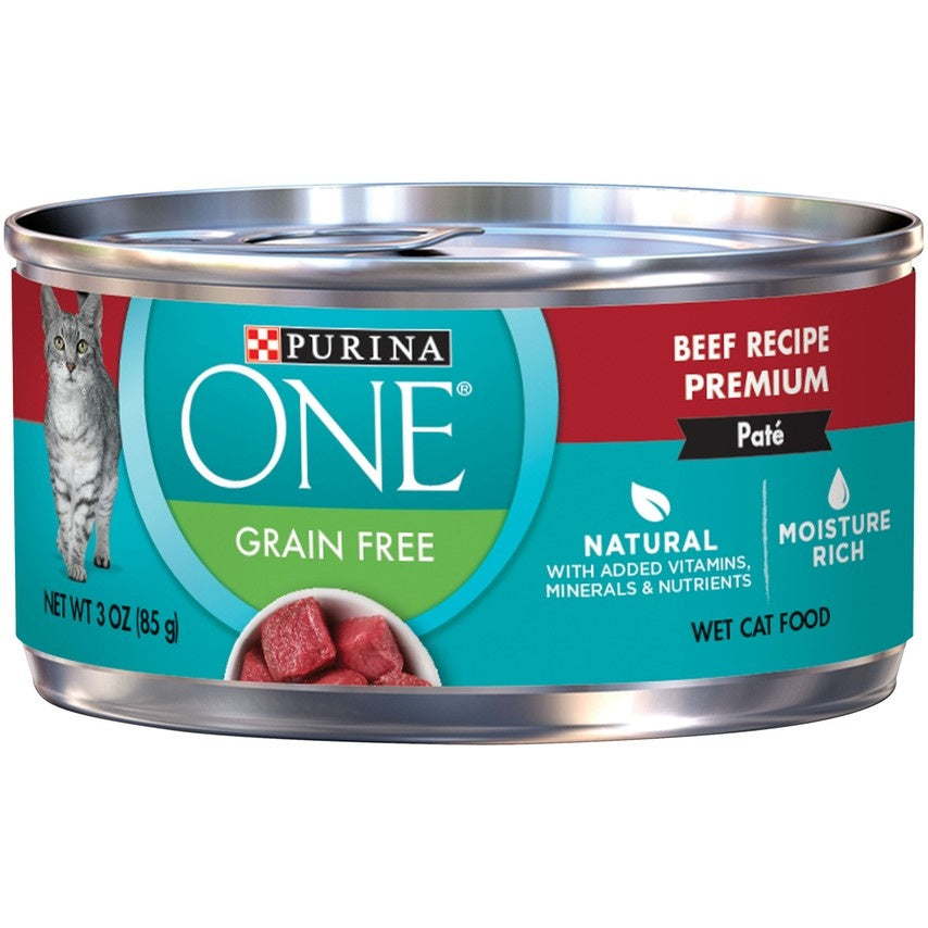 Purina ONE Grain Free Premium Pate Beef Canned Cat Food