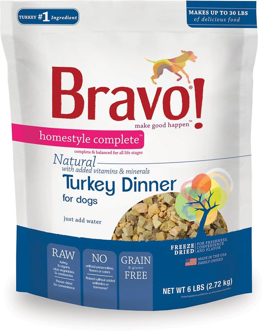 Bravo! Freeze Dried Homestyle Complete Turkey Dinner For Dogs Food