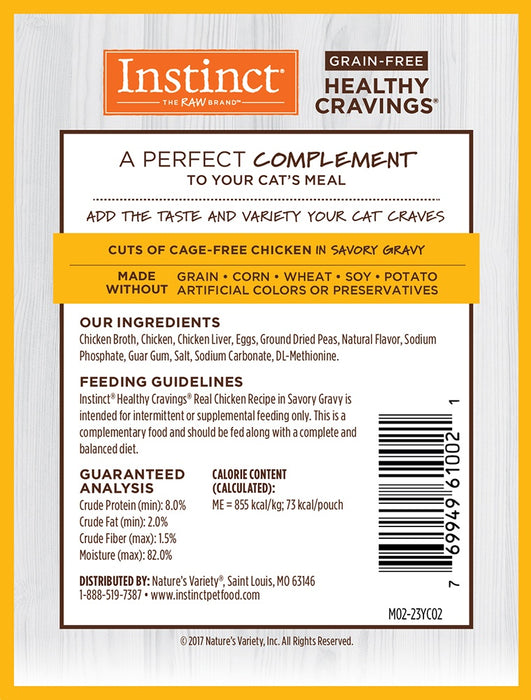 Instinct Healthy Cravings Grain Free Tender Chicken Recipe Meal Topper Pouches for Cats