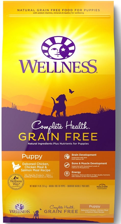 Wellness Complete Health Grain Free Puppy Deboned Chicken, Chicken Meal and Salmon Meal Recipe Dry Dog Food