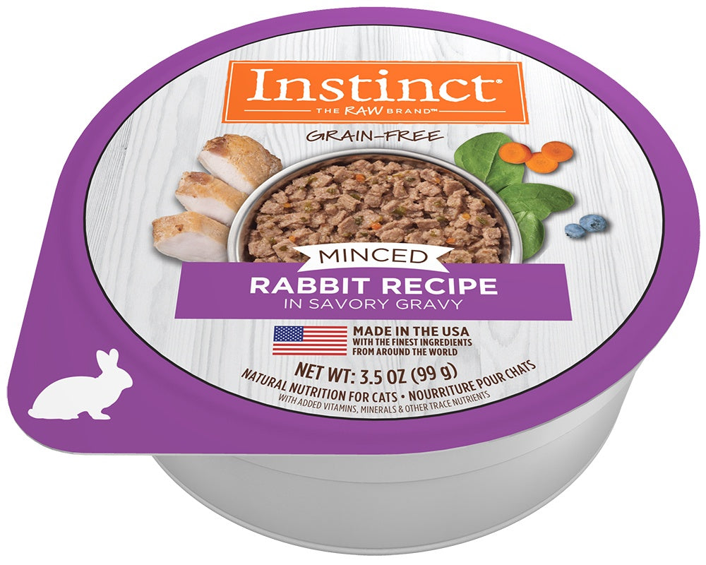 Instinct Adult Grain Free Minced Recipe with Real Rabbit Natural Cat food Cups