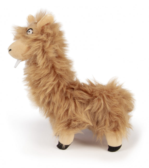 Go Dog Buck Tooth Llama with Chew Guard Technology Durable Plush Dog Toy Tan