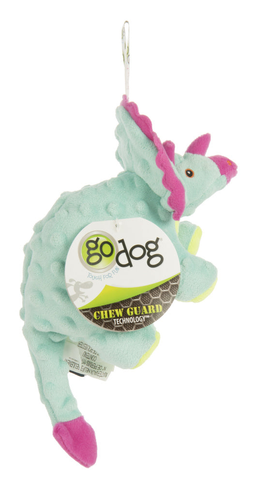 Go Dog Dinos Frills with Chew Guard Technology Durable Plush Squeaker Dog Toy Teal