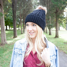 Chunky Knit Hat w/ Pom Pom - 3 colors