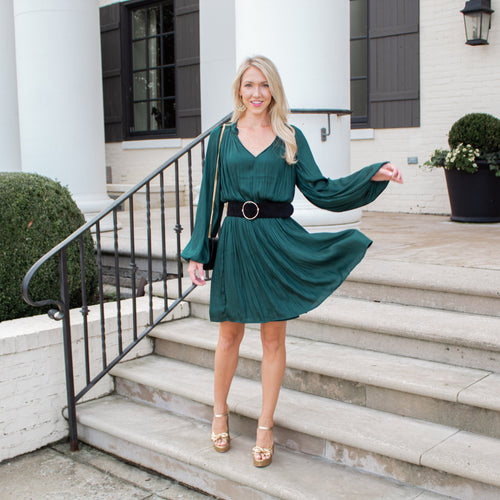 V-neck L/S Dress w/ Pleating