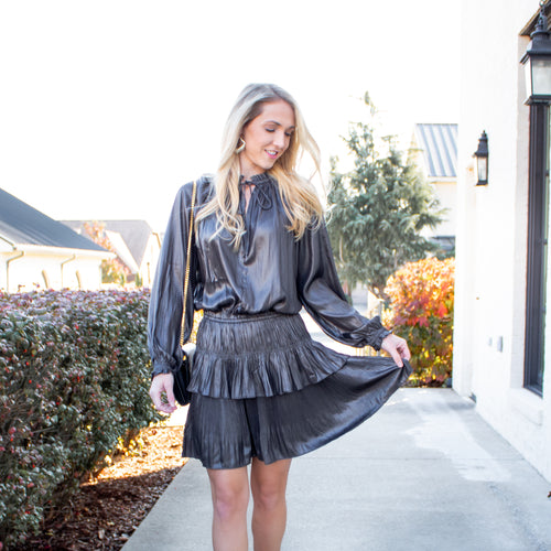 L/S Pleated Mini Dress