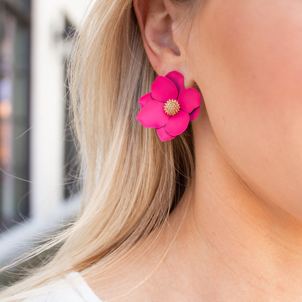 Fuchsia Floral Stud Earring
