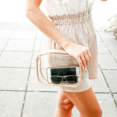 Clear Handbag w/ Faux Leather Accents