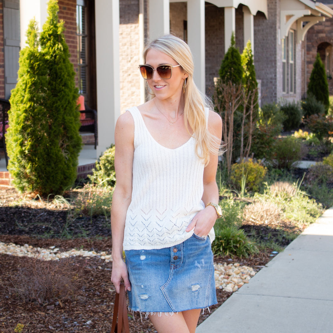 Ribbed Tank w/ Crochet Detailing