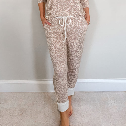 Two Piece Leopard Print Loungewear Set