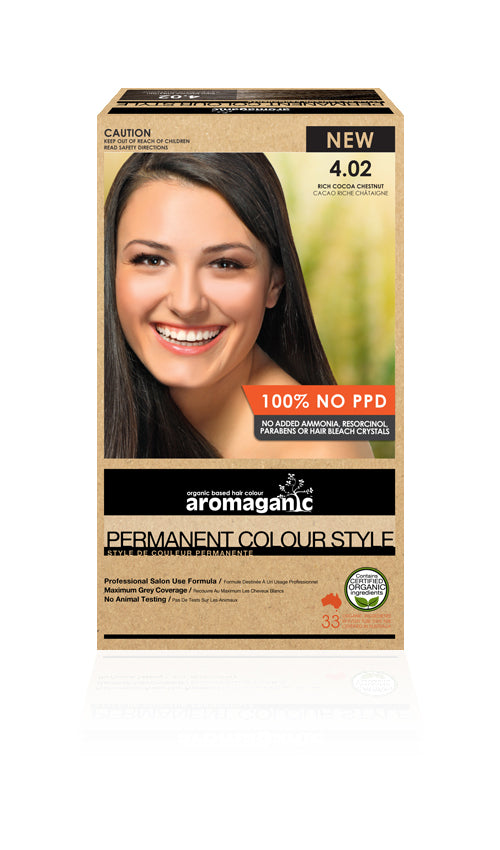 AROMAGANIC Hair Colour 4.02 Rich Cocoa Chestnut
