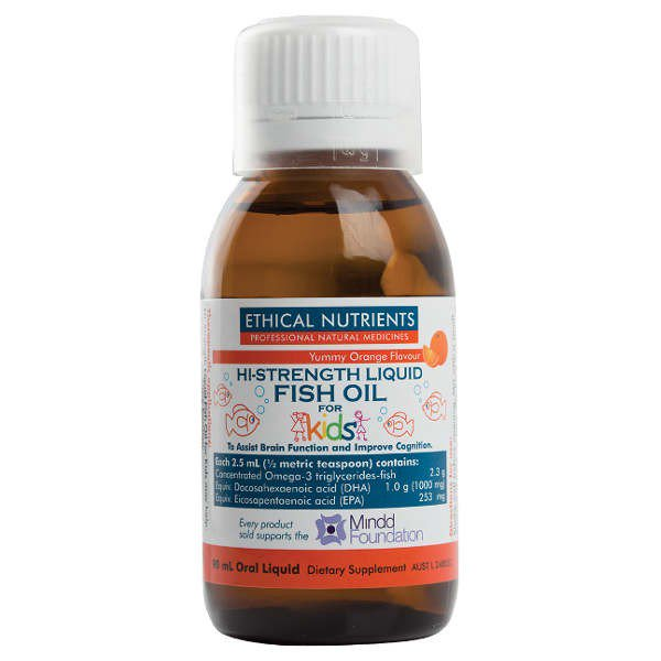 Ethical Nutrients Hi-Strength Liquid Fish Oil Kids Orange Flavoured 90ml