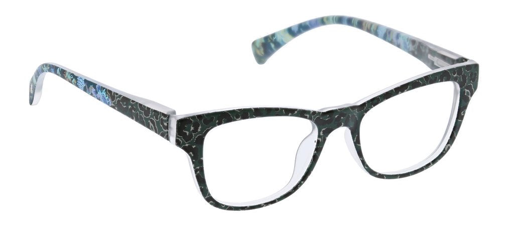 PEEPERS-ORCHID ISLAND GREEN/LEOPARD FLORAL +2.25 (BLUE LIGHT)