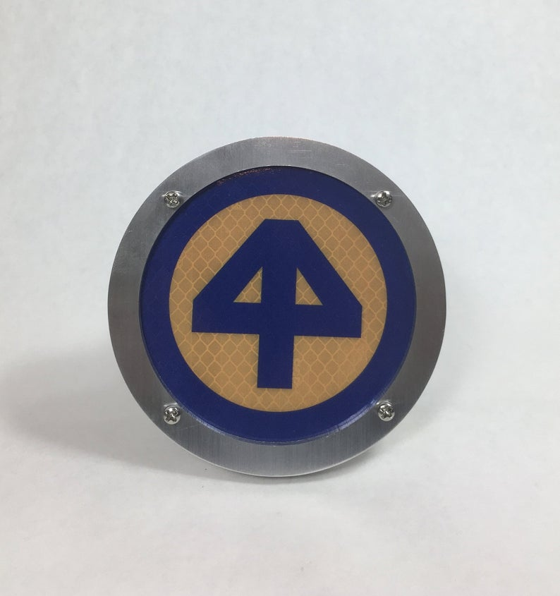 44th ID Round Reflective Hitch Cover