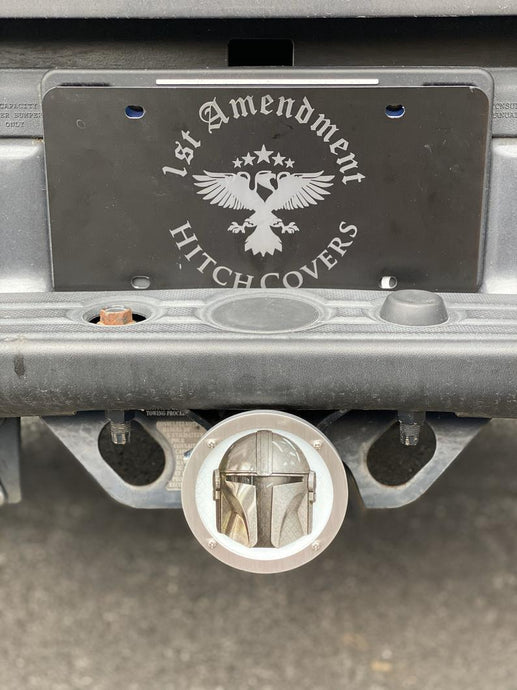 Mandalorian Helmet Round Reflective Hitch Cover