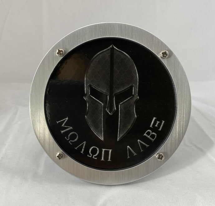 Molon Labe Helmet Round Reflective Hitch Cover
