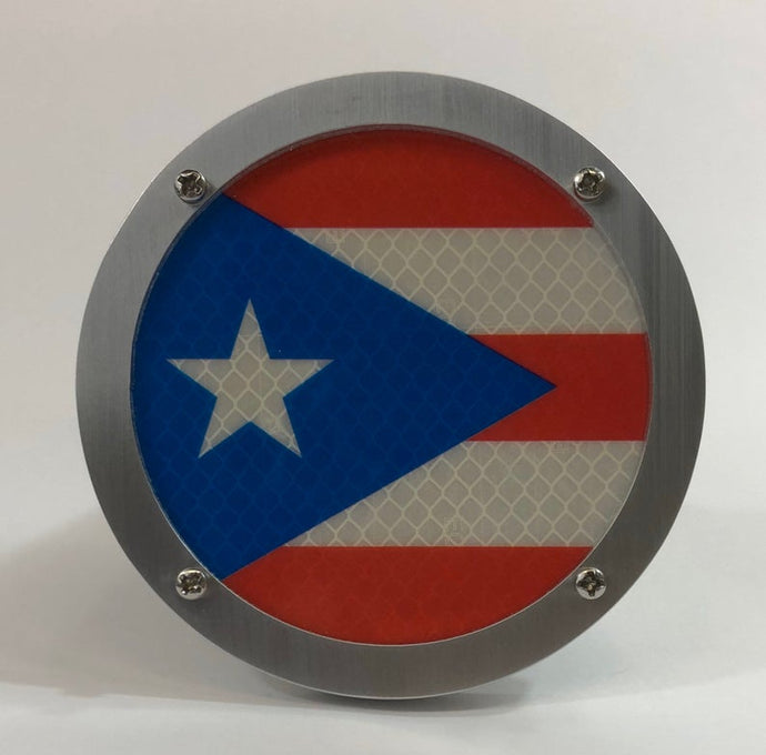 Puerto Rico Flag Round Reflective Hitch Cover