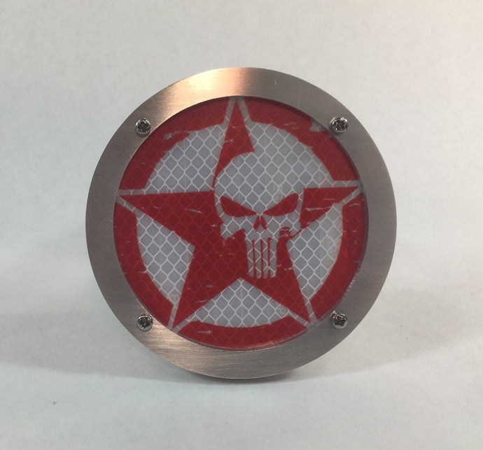 Punisher Jeep Round Reflective Hitch Cover