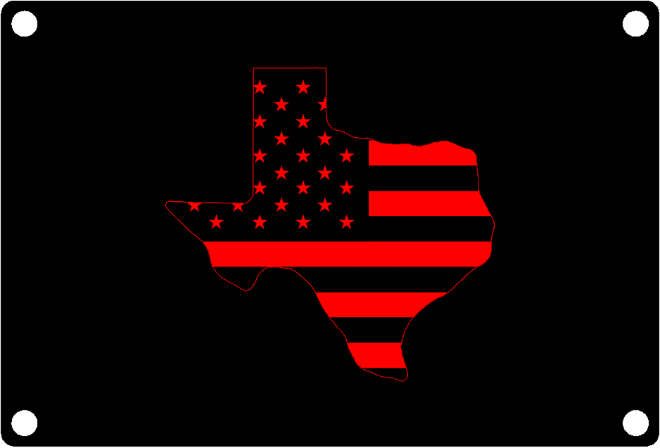 Texas State Outline with American Flag