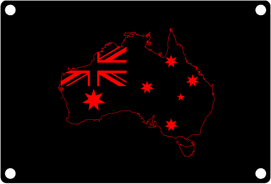 Australia National Outline with Flag