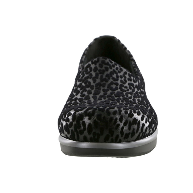 sas womens fabric slip on shoe bliss black leopard