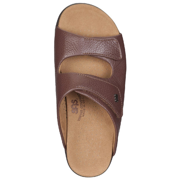 sas womens slide-on sandal cozy brown
