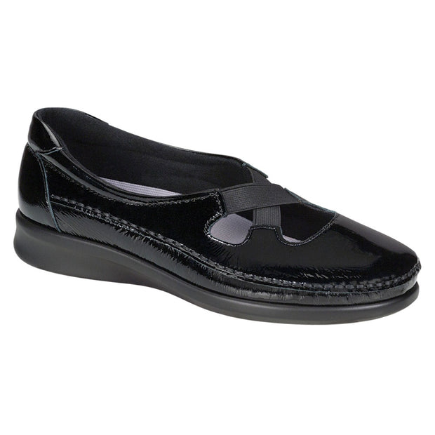 sas womens slip on moccasin crissy black patent