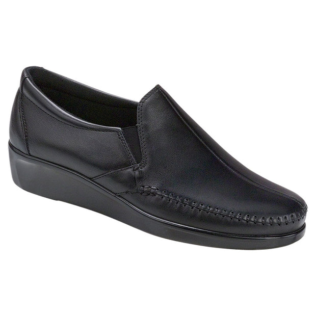 sas womens wide leather slip on wedge dream black
