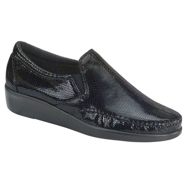 sas womens wide leather slip on wedge dream black snake