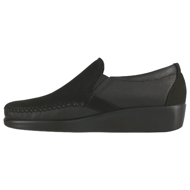 sas womens wide leather slip on wedge dream black nubuck