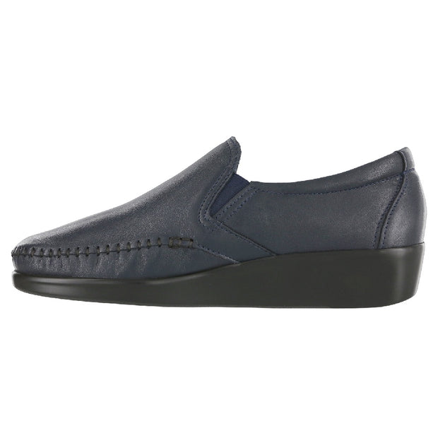 sas womens wide leather slip on wedge dream navy