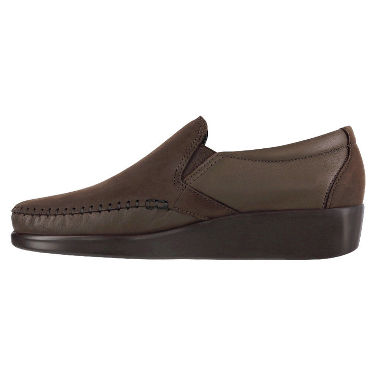 sas womens wide leather slip on wedge dream brown nubuck