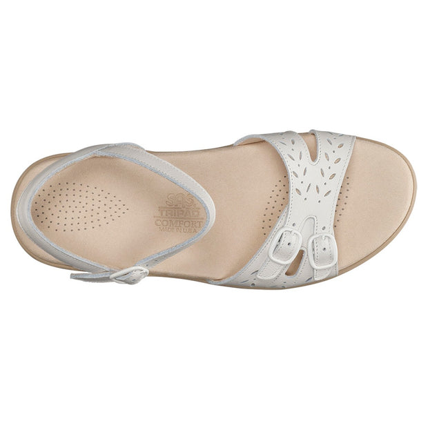 sas womens soft footbed sandal duo white