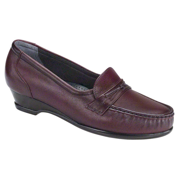 sas womens slip on moccasin wedge easier antique wine