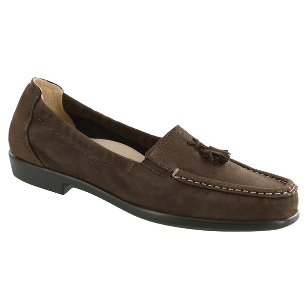 sas womens nubuck loafer hope brown turf